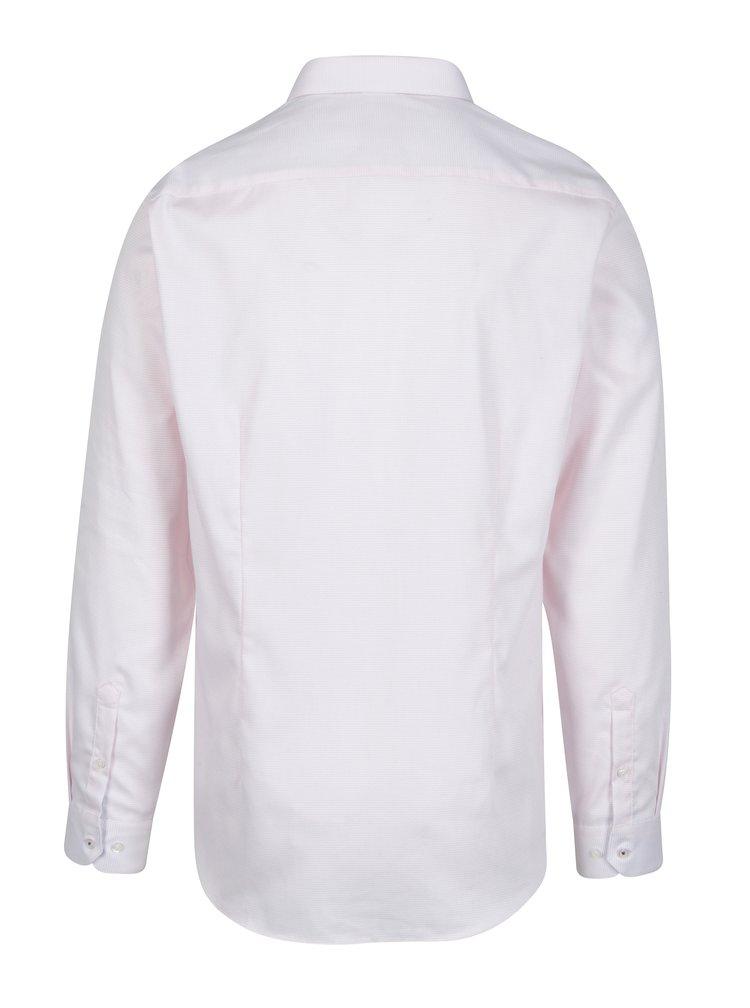 Světle růžová formální slim fit košile s jemným vzorem Burton Menswear London