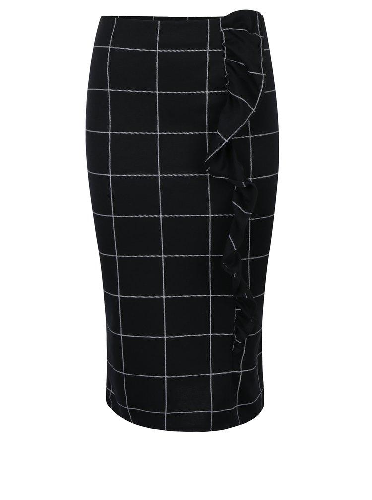 Černá kostkovaná pouzdrová sukně s volánem Dorothy Perkins
