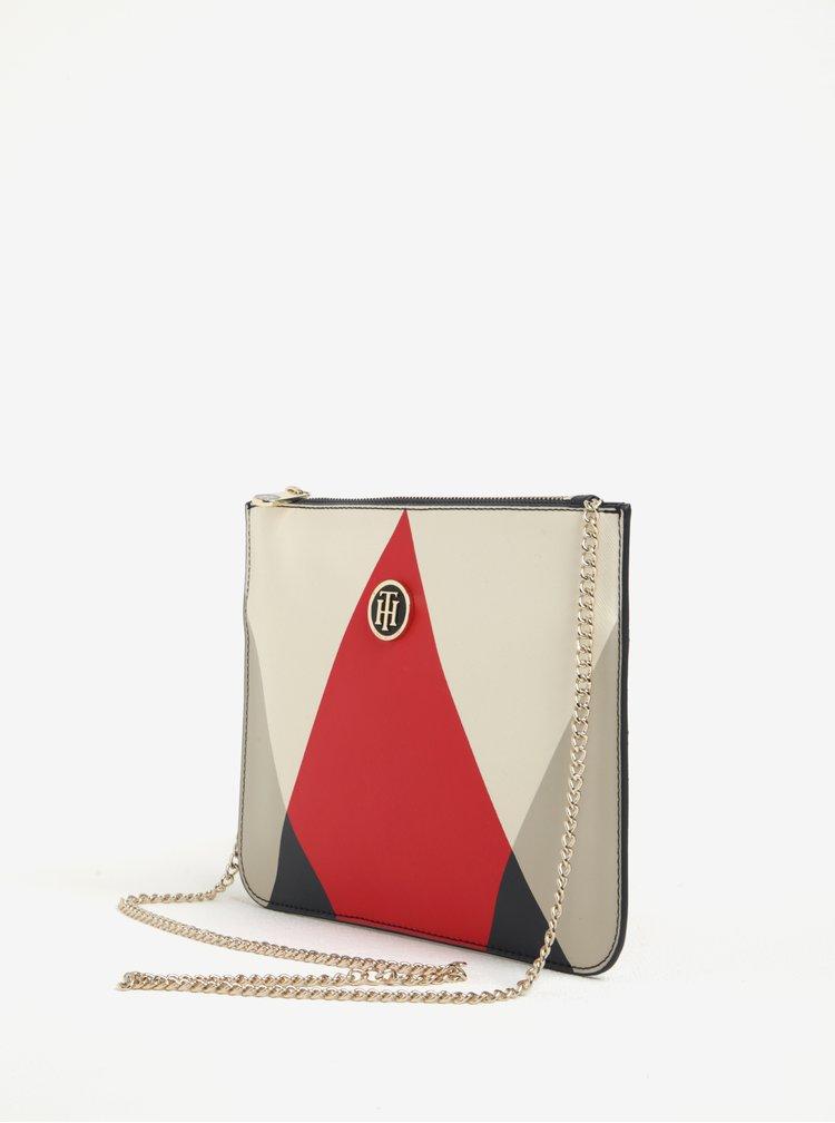 Červeno-krémová listová/crossbody kabelka s retiazkou v zlatej farbe Tommy Hilfiger