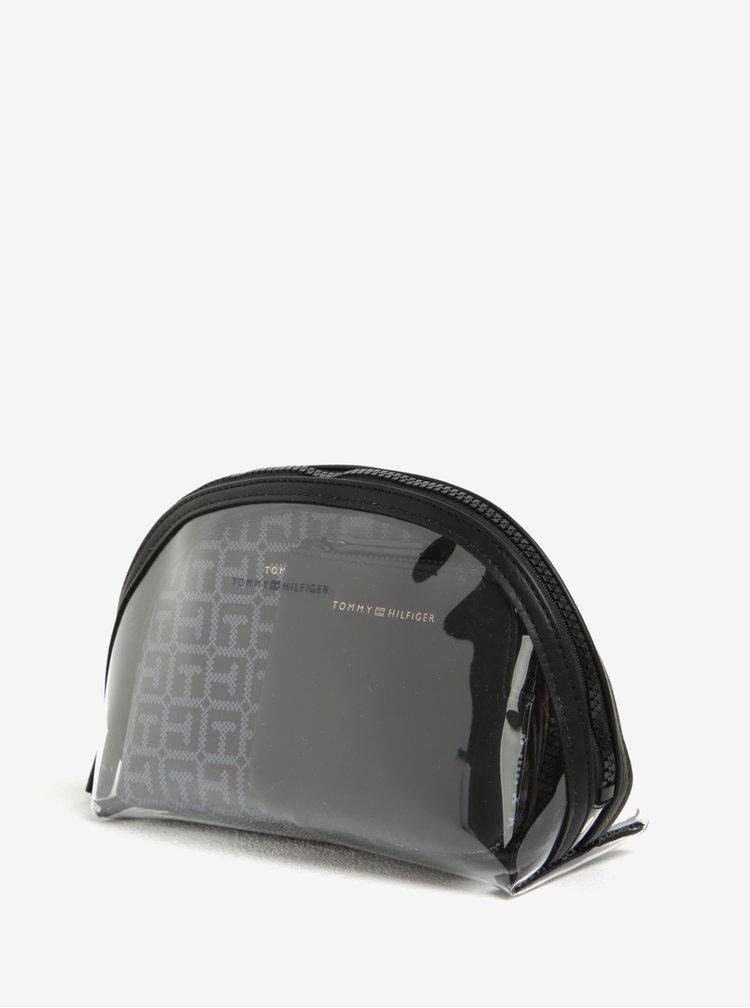 Čierna dámska vzorovaná kozmetická taštička 3 v 1 Tommy Hilfiger