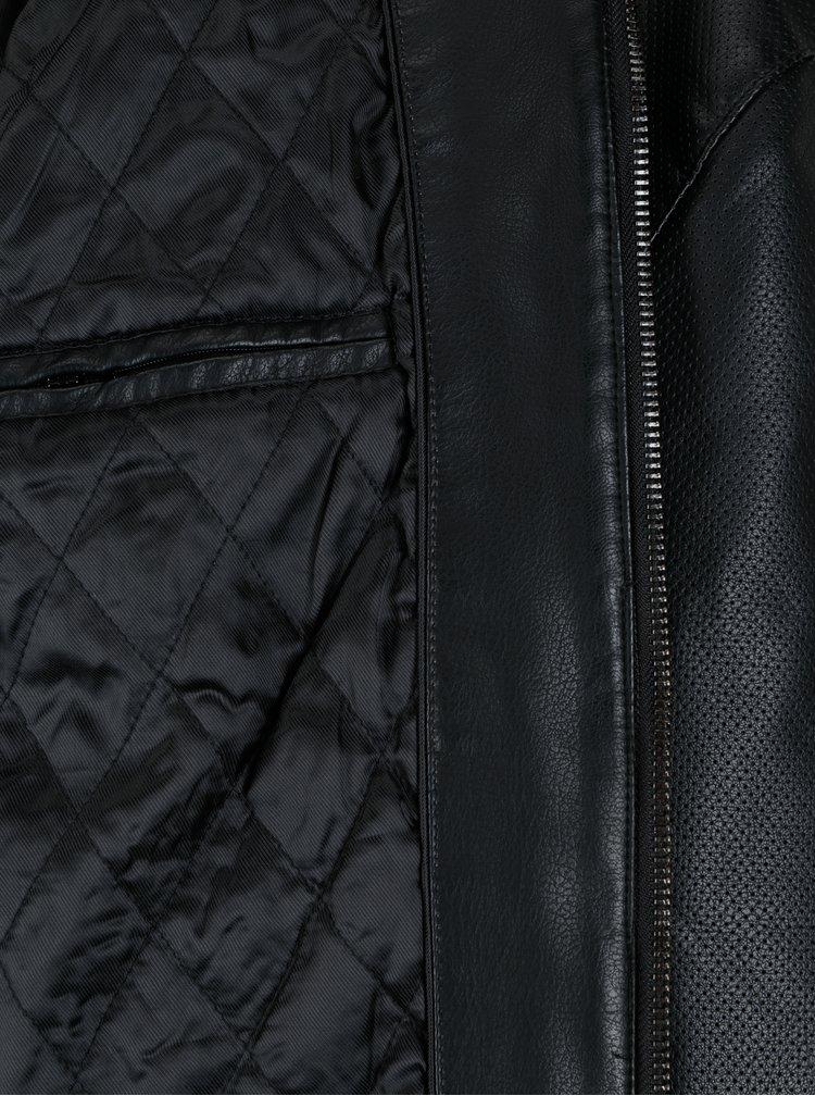 Černá perforovaná koženková bunda Burton Menswear London