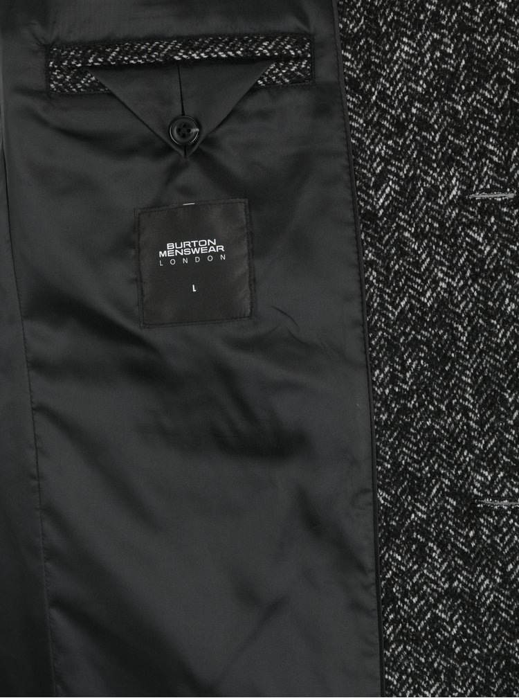 Černý žíhaný vlněný kabát s kapsami Burton Menswear London