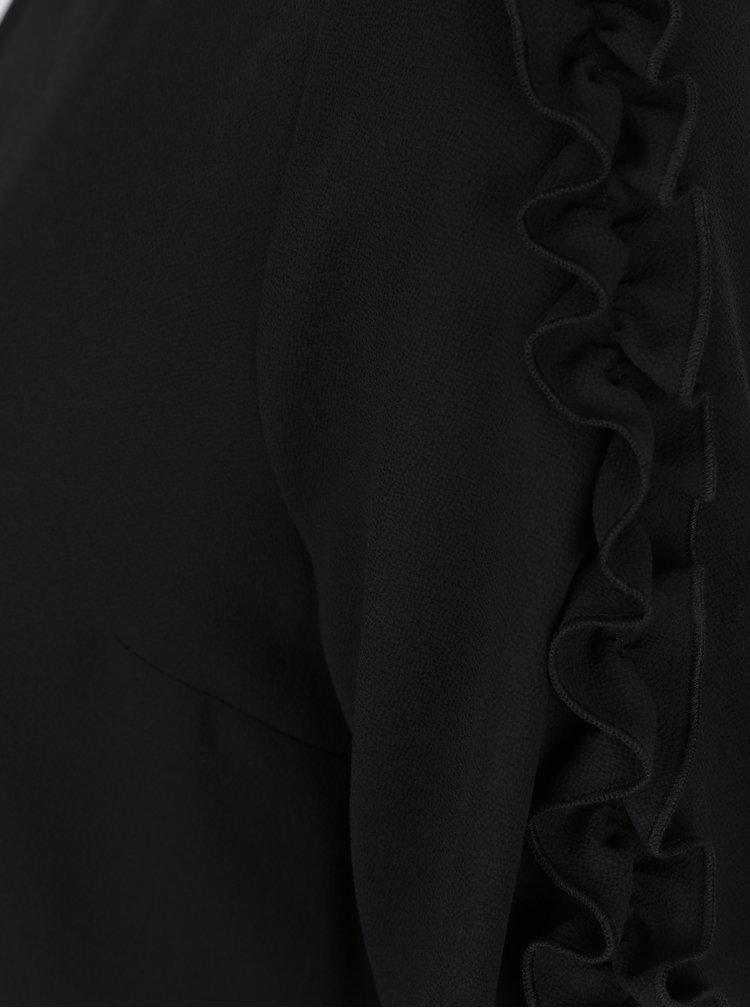 Černá halenka s volánky na rukávech Dorothy Perkins