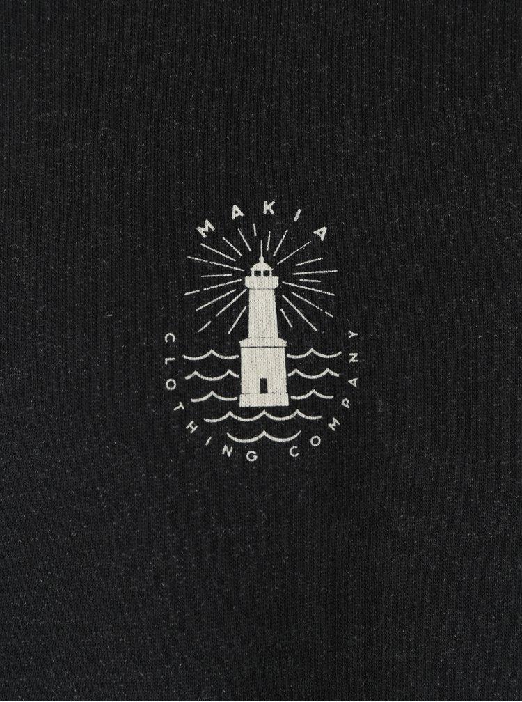 Pulover gri inchis&crem cu logo Makia Beam