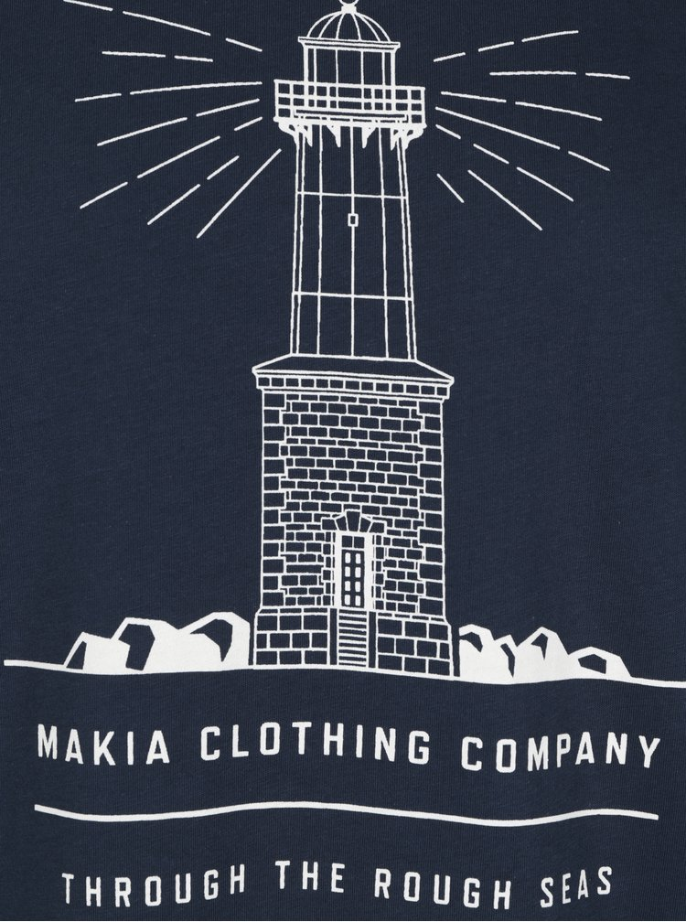 Tricou bleumarin&alb cu print Makia Lighthouse