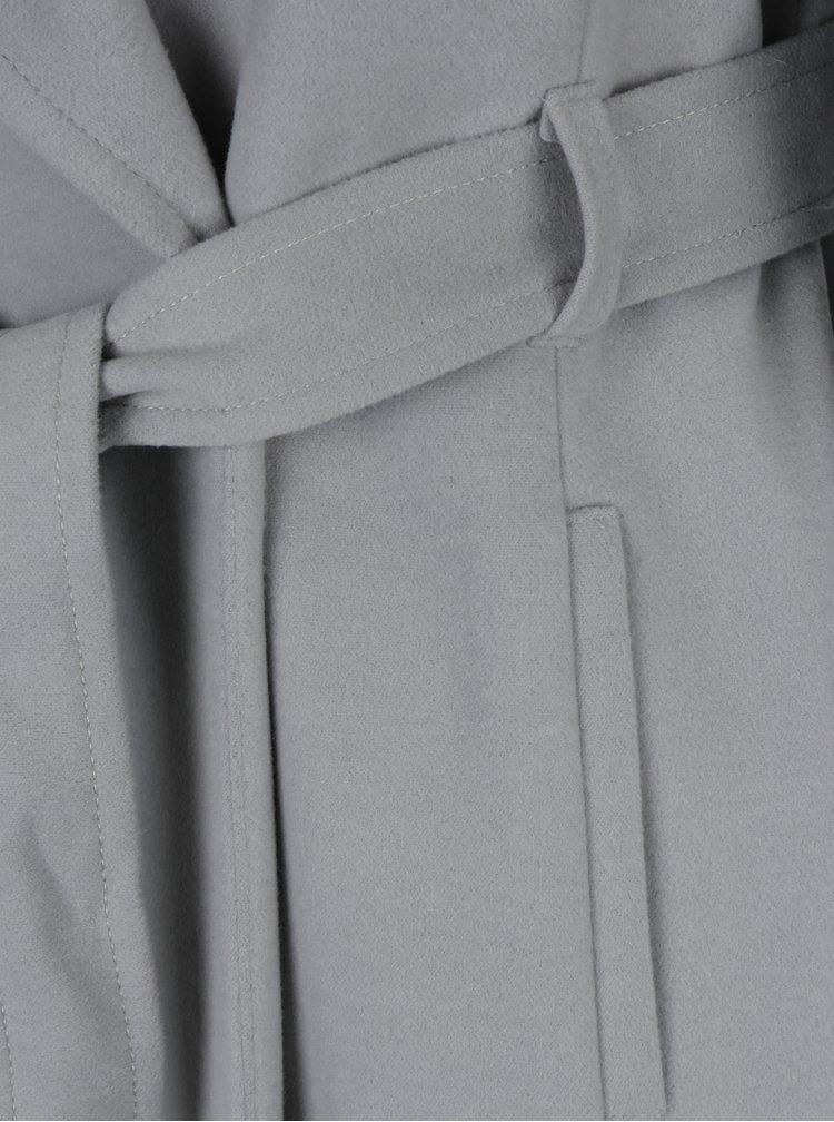 Palton gri cu cuordon in talie si guler supra-dimensionat Dorothy Perkins