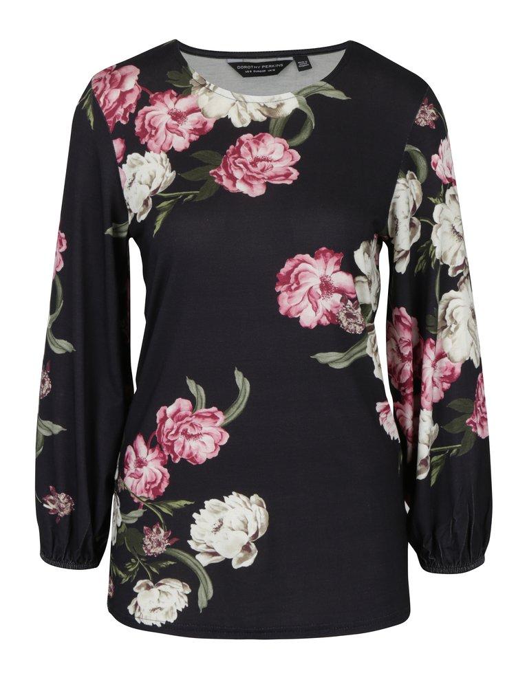 Bluza neagra cu print floral Dorothy Perkins