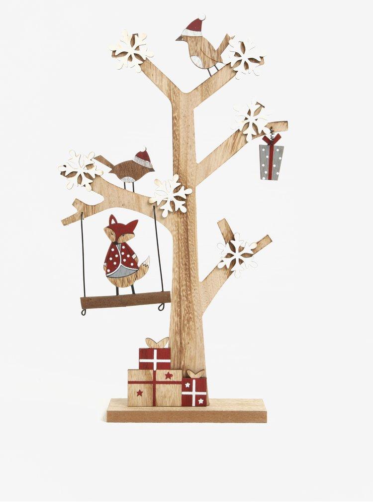 Hnědý dřevěný stromek s vánočním motivem Dakls