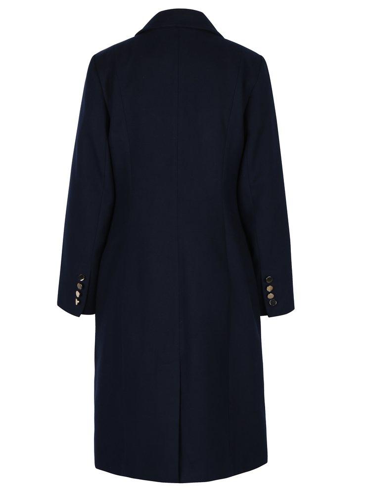 Tmavě modrý kabát s knoflíky ve zlaté barvě Dorothy Perkins