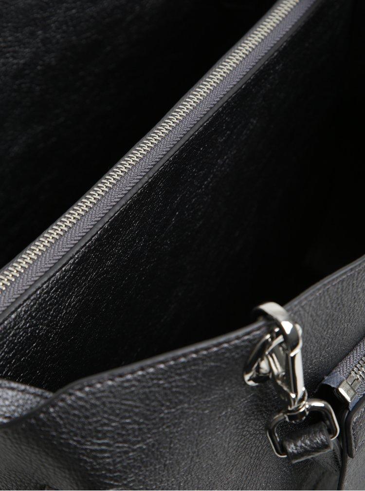 Šedá metalická dámská kabelka s oboustrannou klopou Tommy Hilfiger