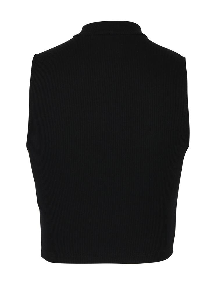 Černý žebrovaný crop top bez rukávů s rolákem Miss Selfridge