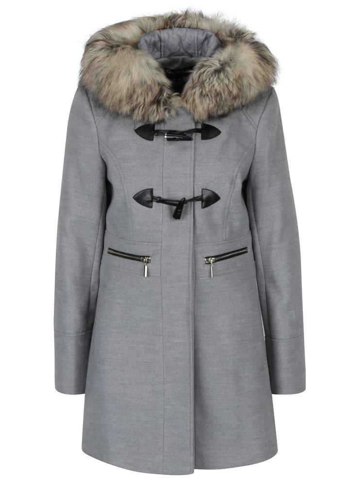 Šedý kabát s kapucí a umělým kožíškem Miss Selfridge