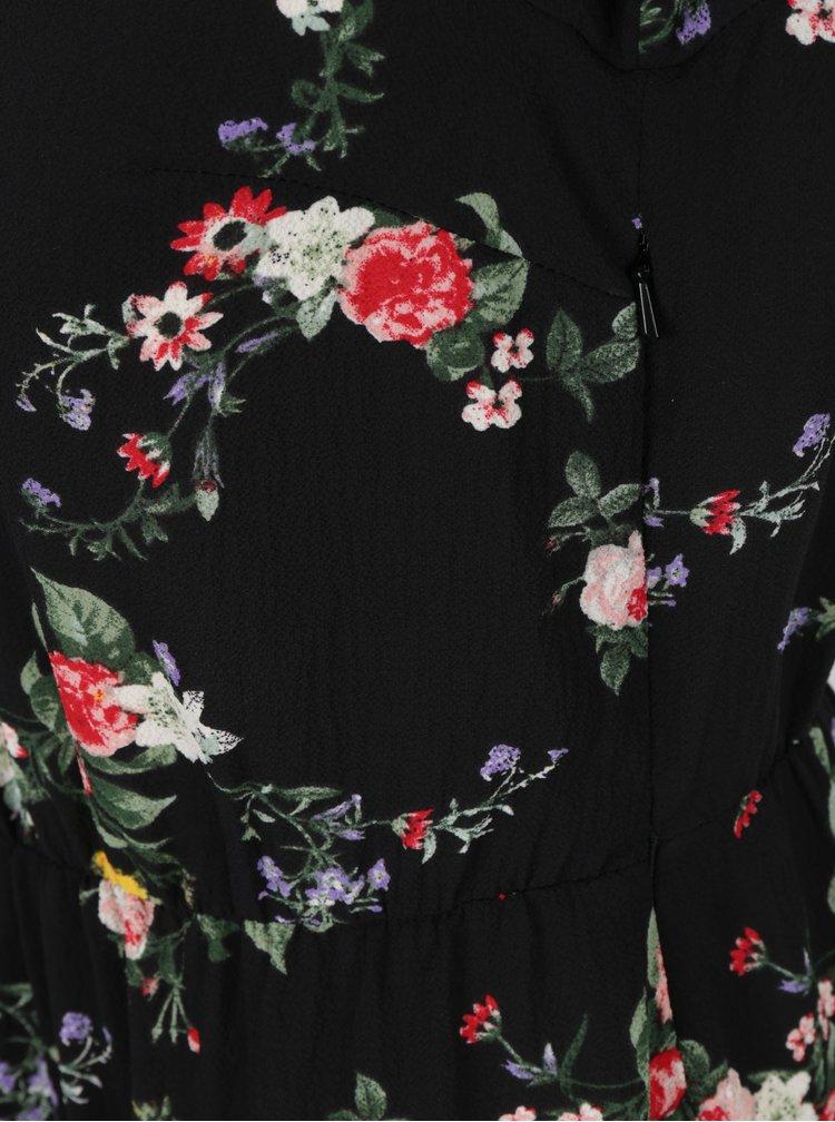 Černé květovaná šaty s volánky Miss Selfridge Petites