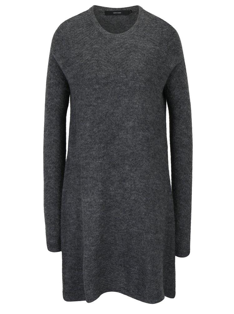 Tmavě šedé svetrové šaty s příměsí vlny VERO MODA Ginger