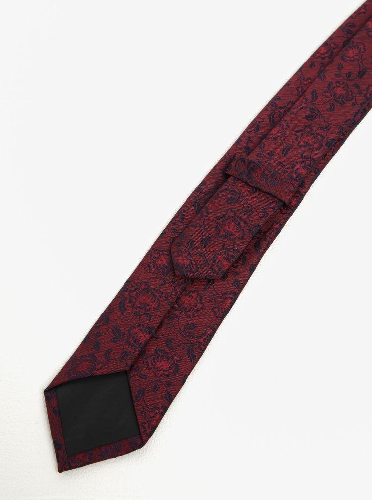 Cravata bordo cu imprimeu floral - Burton Menswear London