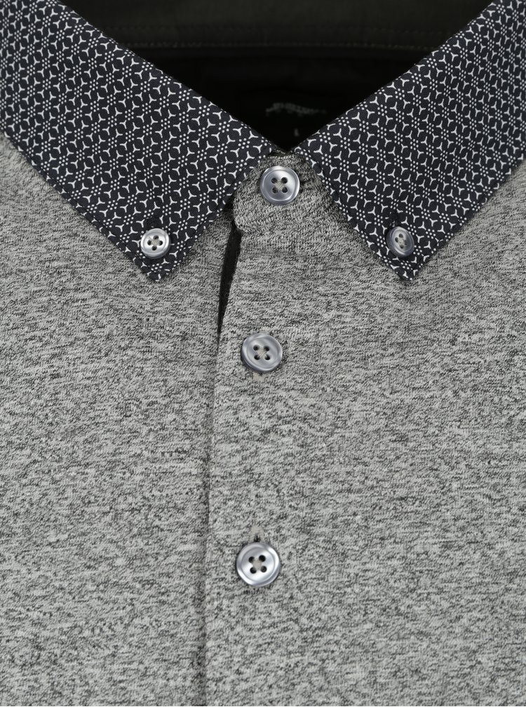 Tricou polo gri cu guler buttons down - Burton Menswear London