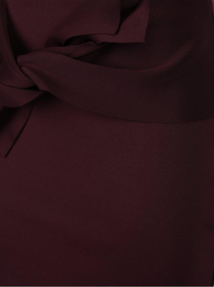 Vínová pouzdrová sukně s uzlem Dorothy Perkins