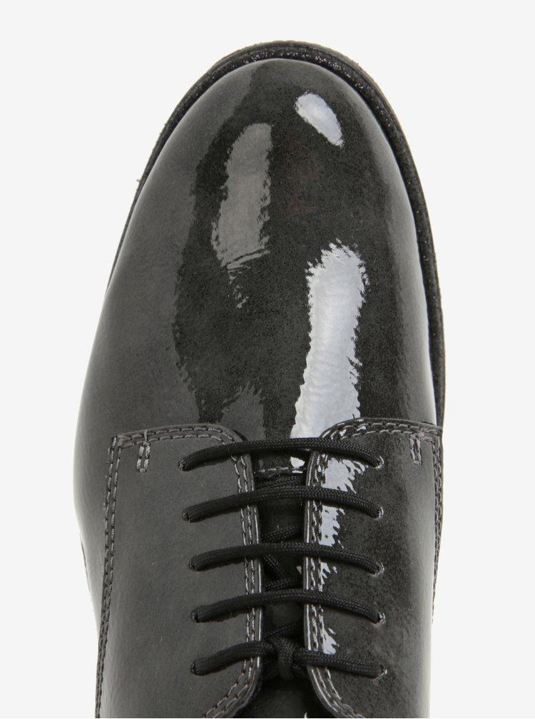 Pantofi de lac gri inchis cu sireturi pentru femei - Tamaris