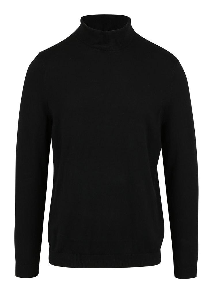 Pulover barbatesc negru cu guler inalt - Burton Menswear London