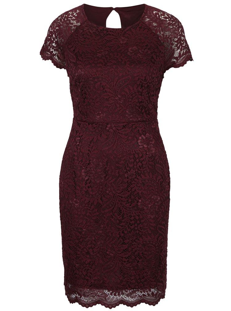 Vínové krajkové šaty s krátkým rukávem ONLY Shira