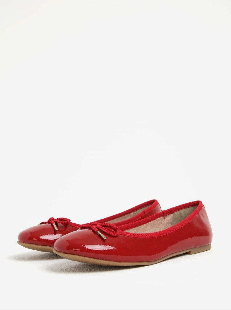 Balerini rosii cu funda si aspect lacuit - Tamaris