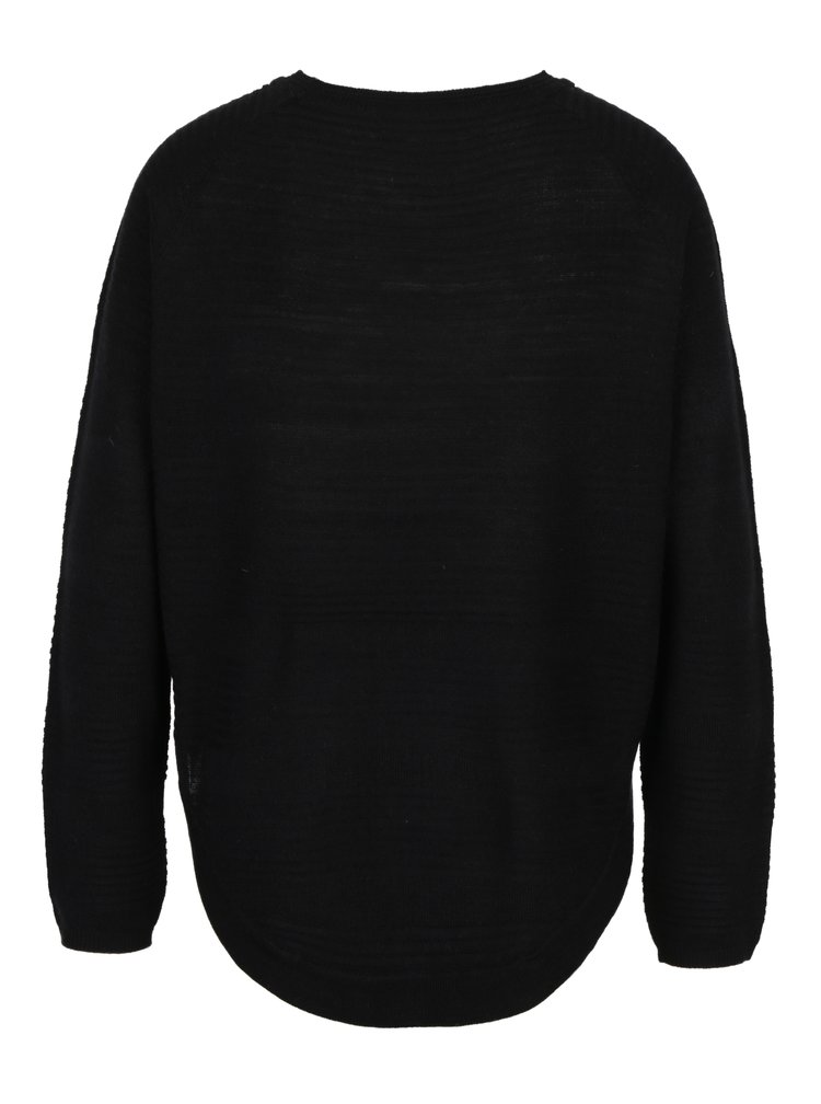 Černý lehký svetr s rozparkem na boku ONLY Caviar