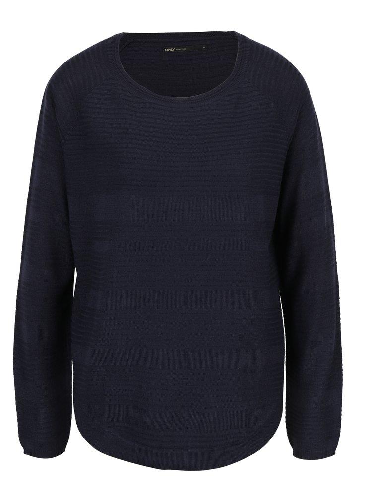 Tmavě modrý lehký svetr s rozparkem na boku ONLY Caviar