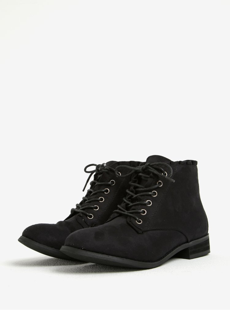 Černé kotníkové boty v semišové úpravě Dorothy Perkins