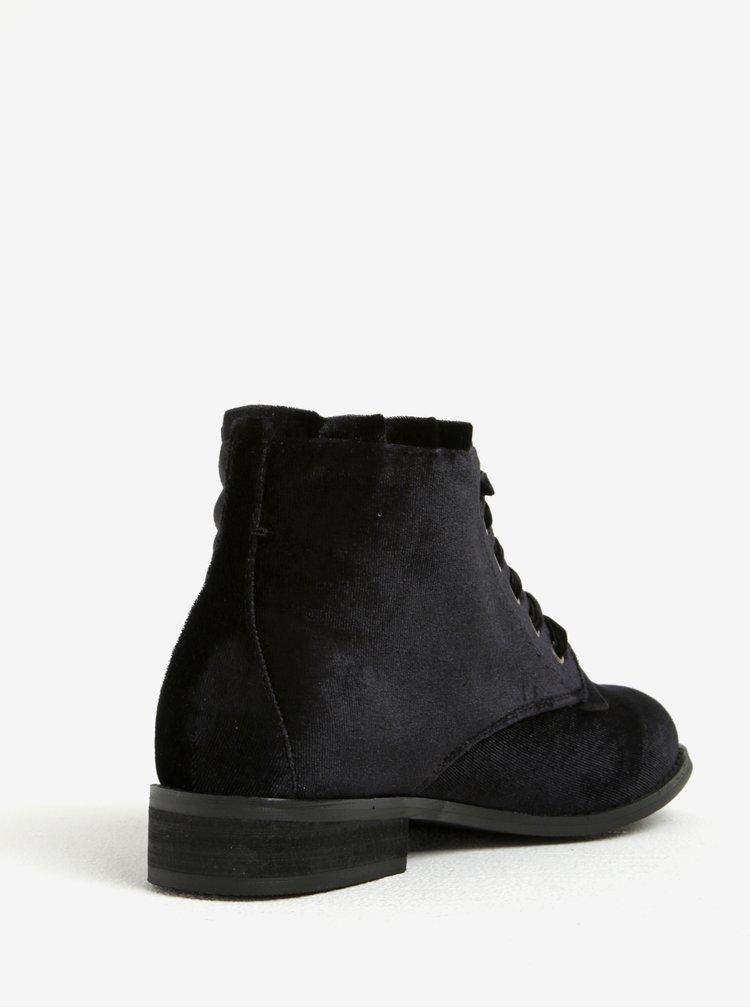 Černé sametové kotníkové boty Dorothy Perkins