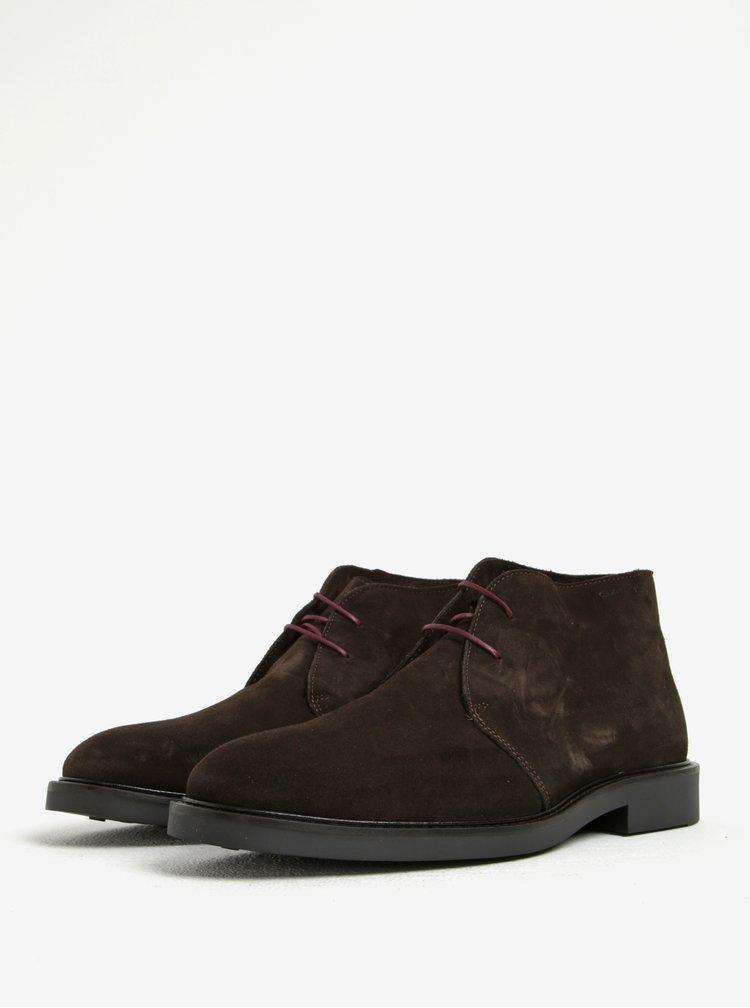 Tmavě hnědé pánské semišové kotníkové boty GANT Spencer