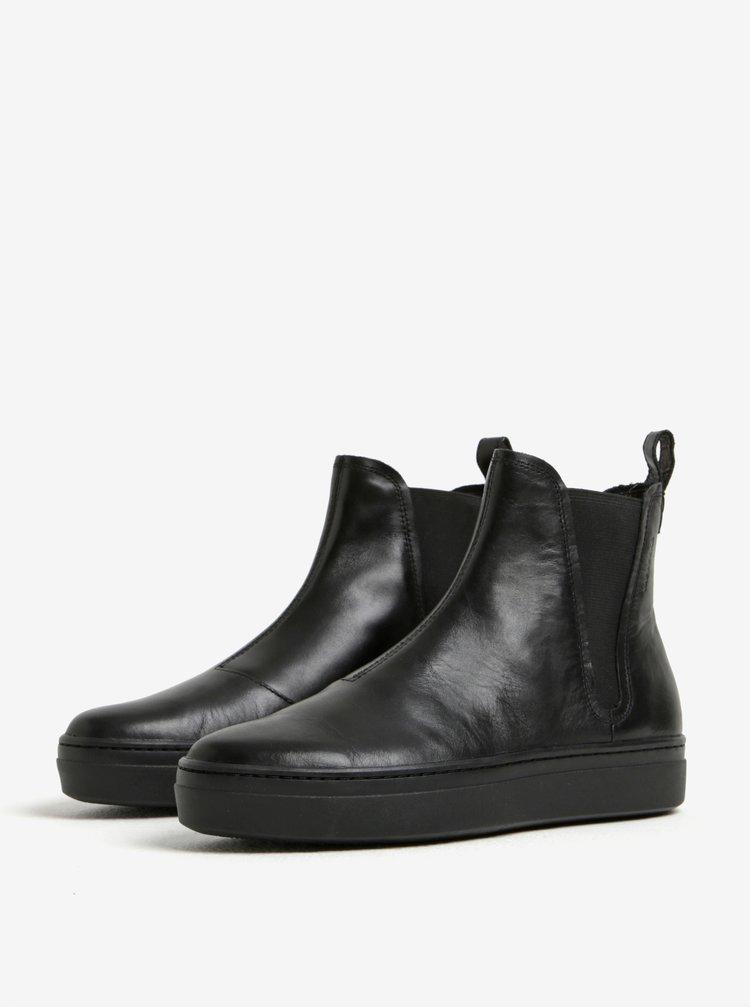 Černé dámské kožené chelsea boty na platformě Vagabond Camille
