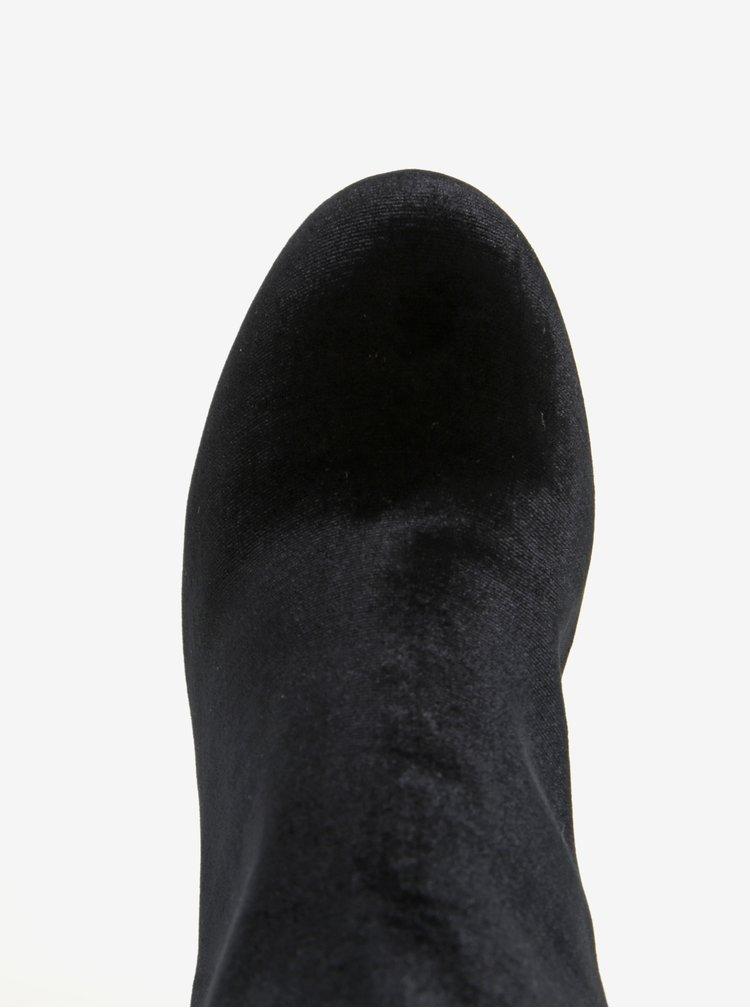 Botine negre cu toc din catifea Dorothy Perkins