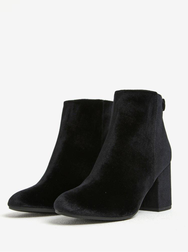 Černé sametové kotníkové boty na podpatku Dorothy Perkins