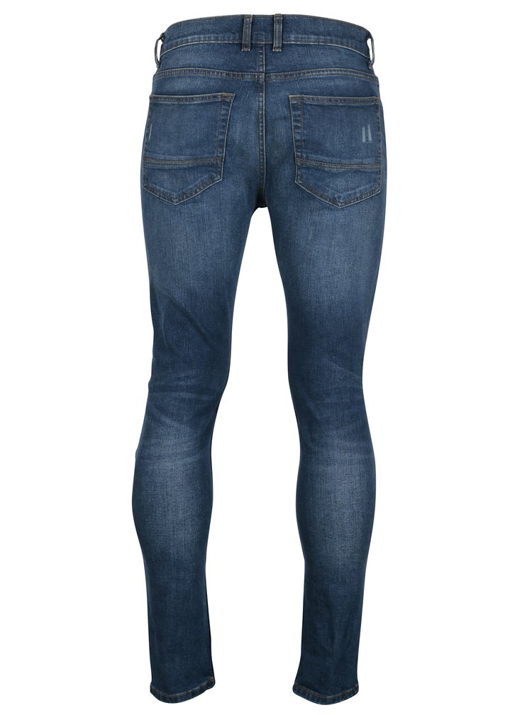 Blugi albastri cu aspect uzat si prespalat pentru barbati - Burton Menswear London