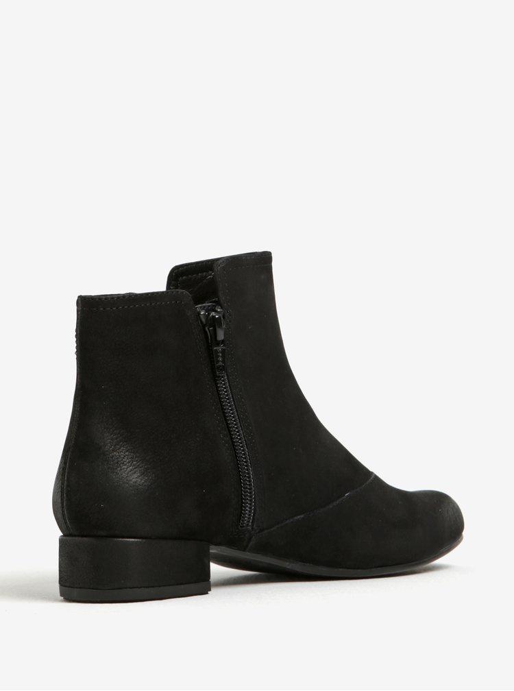 Černé dámské kožené kotníkové boty se zipem Vagabond Sue
