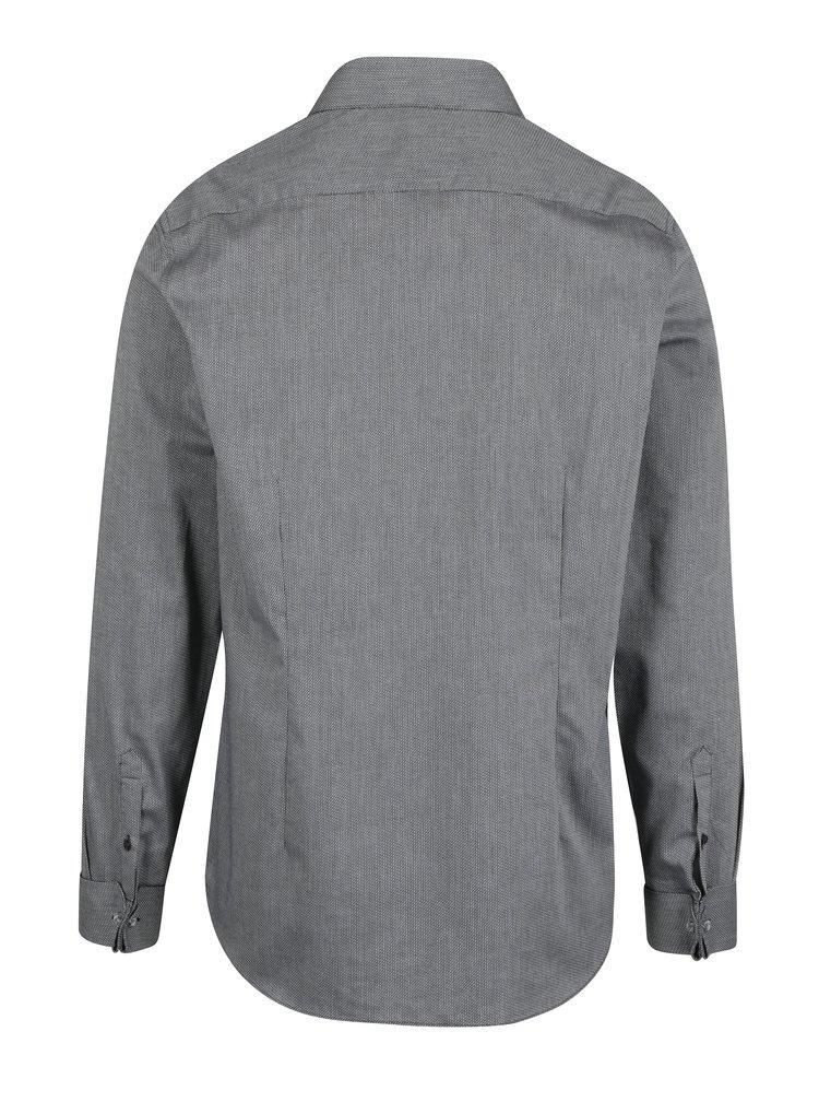 Šedá vzorovaná formální slim fit košile Burton Menswear London