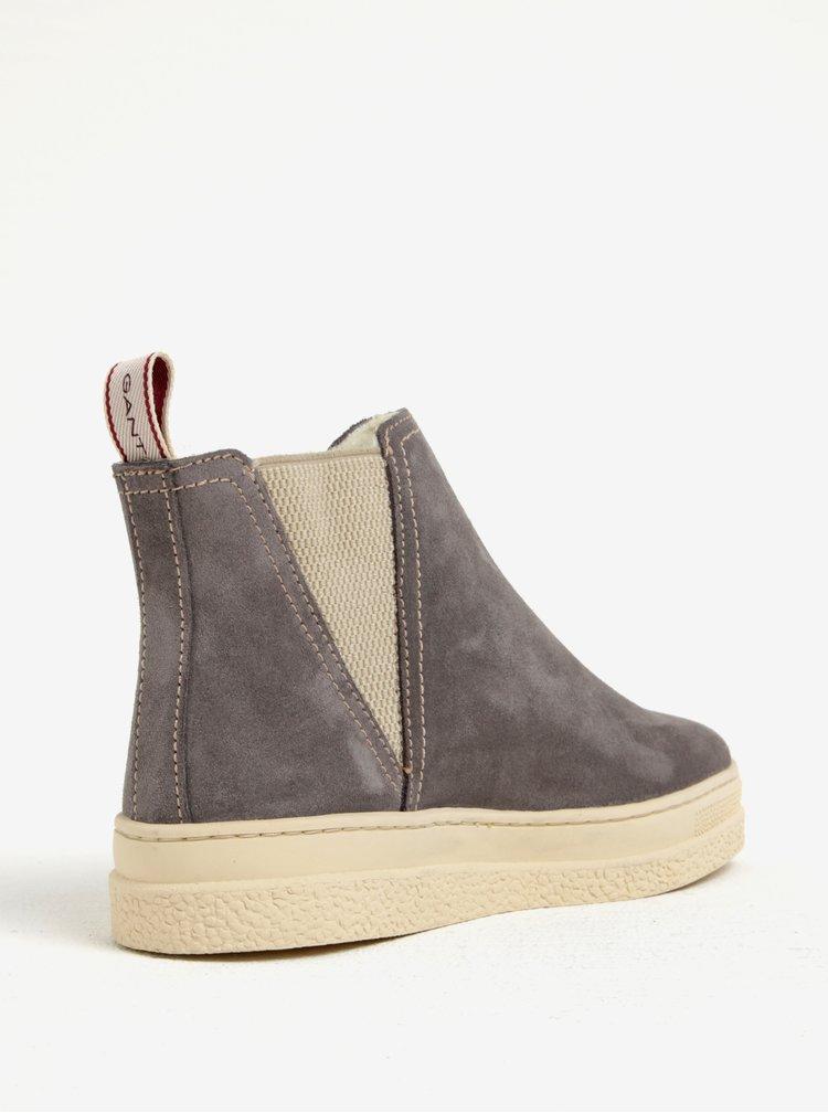 Šedé dámské zateplené semišové chelsea boty GANT Maria