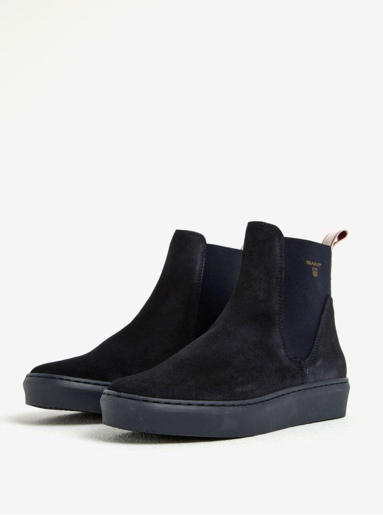 Tmavě modré dámské semišové chelsea boty GANT Anne