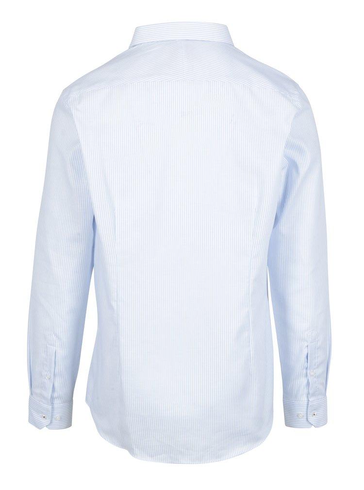 Camasa slim fit cu dungi alb & albastru - Burton Menswear London