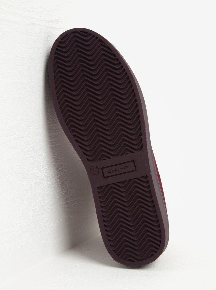 Vínové dámské semišové chelsea boty GANT Anne