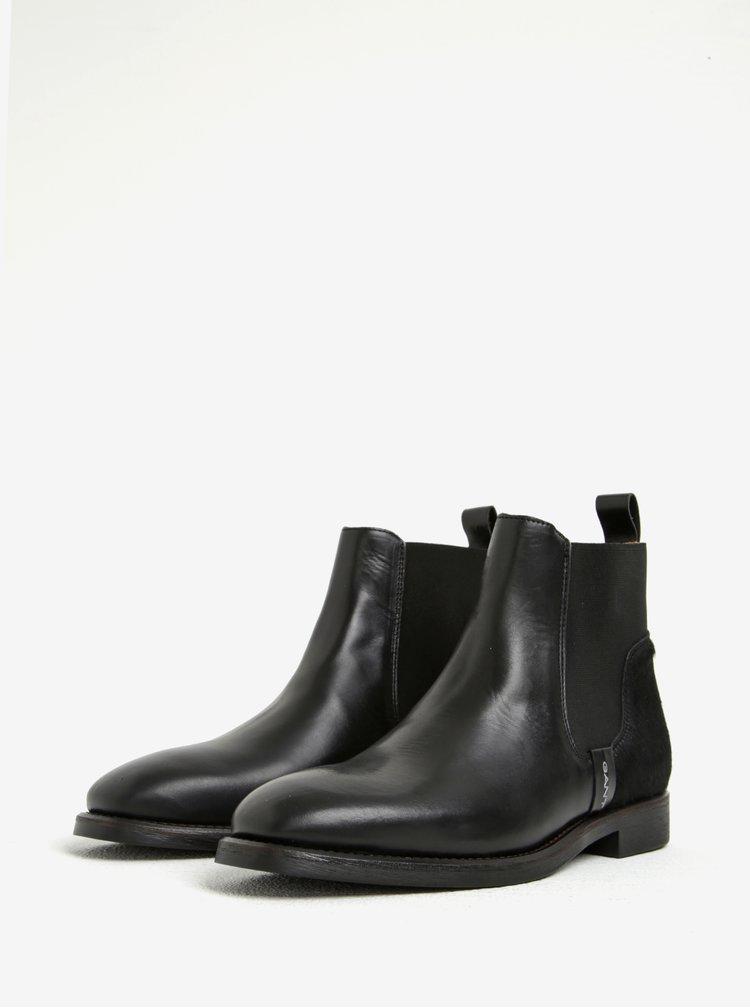 Černé dámské kožené chelsea boty s detailem na patě GANT Jennifer