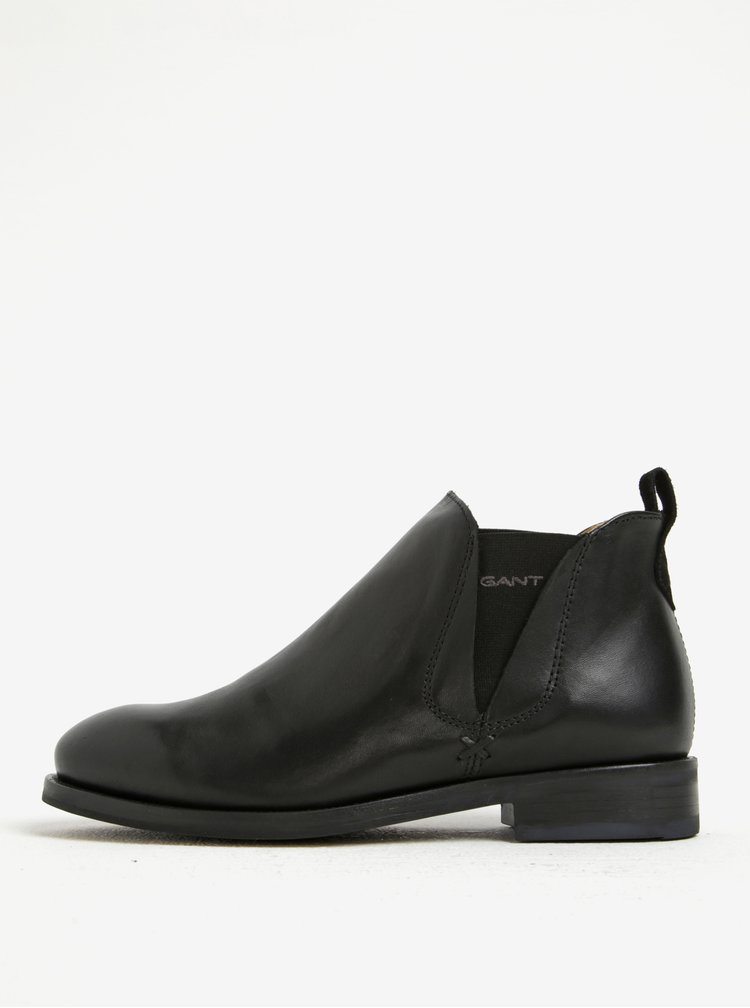 Černé dámské kožené chelsea boty GANT Avery