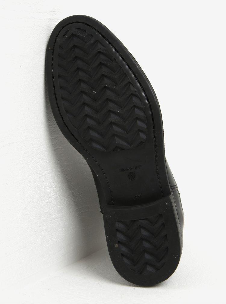 Černé dámské kožené chelsea boty se semišovým detailem GANT Lydia