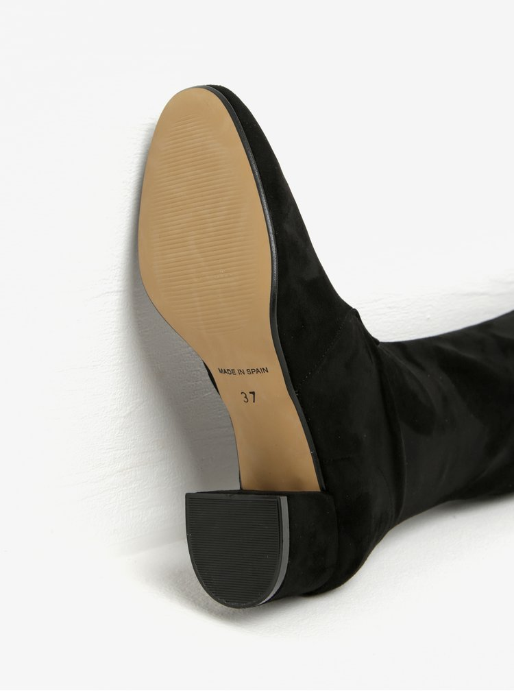 Černé vysoké kozačky v semišové úpravě na podpatku OJJU