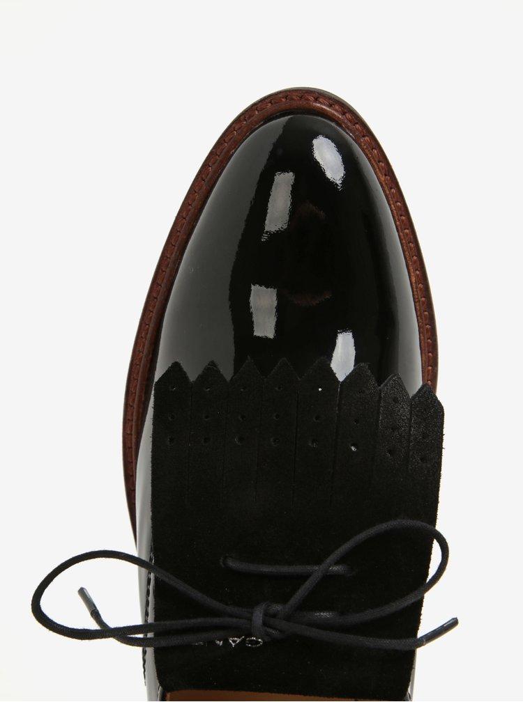Černé dámské lakované kožené polobotky se semišovým detailem GANT Emilia