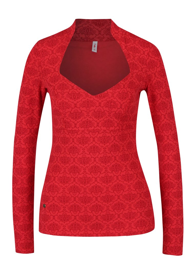 Červené vzorované tričko s dlhým rukávom Blutsgeschwister