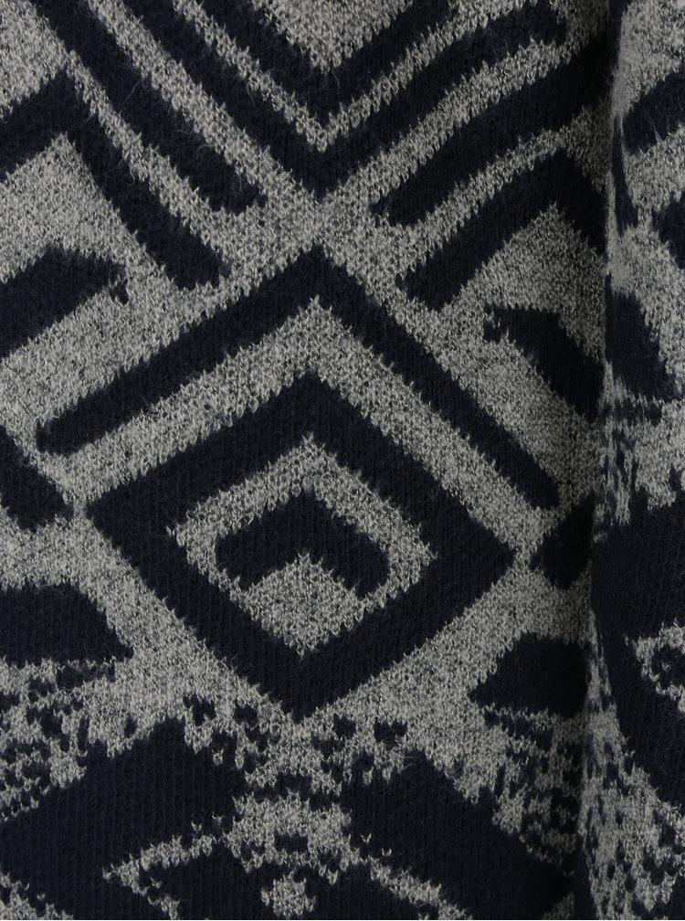 Cardigan lung gri&albastru inchis cu model geometric Haily´s Rahel