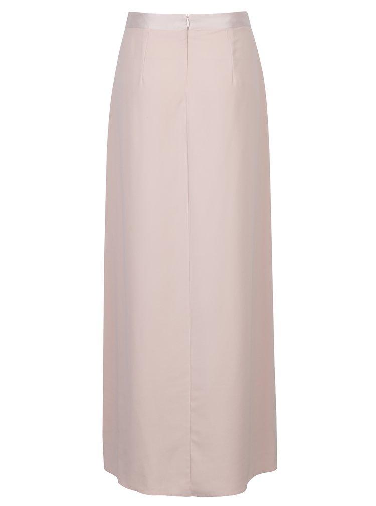 Světle růžová maxi sukně s volánem Dorothy Perkins