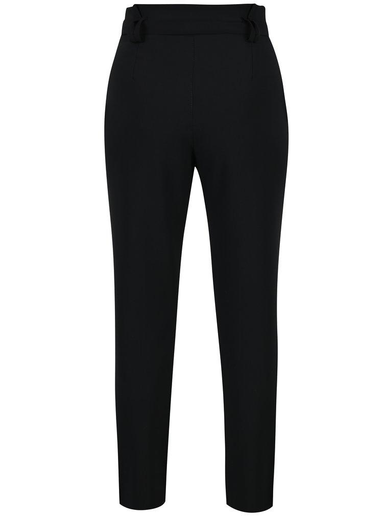 Pantaloni negri cu talie inalta si funda  Haily´s Milly