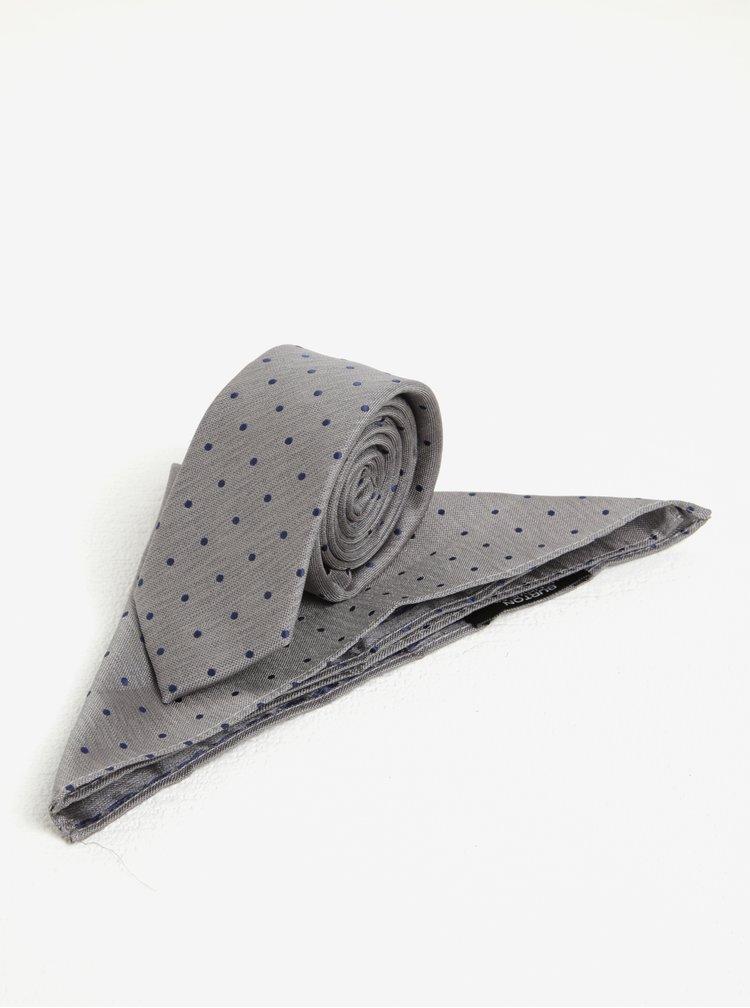 Šedý puntíkovaný set kravaty a kapesníčku Burton Menswear London